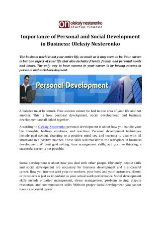 Personal and Social Development Importance by Oleksiy Nesterenko