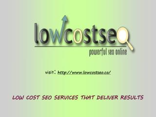 Find effective Seo services at Lowcost