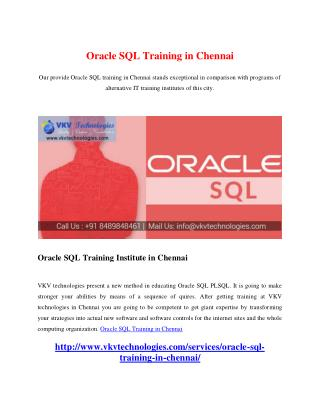Oracle SQL Training in Chennai