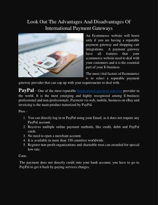 Is International Payment Gateways Have Pros And Corns