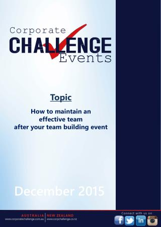 How to maintain an effective team after your team building event