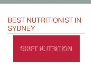 Best Nutritionist in Sydney
