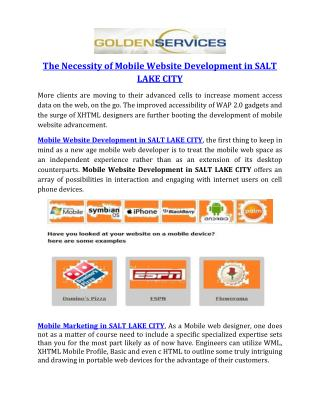 The Necessity of Mobile Website Development in SALT LAKE CITY