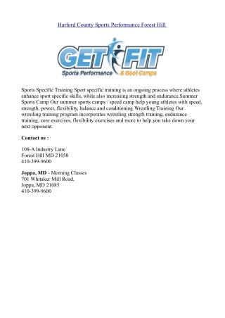 Harford County Sports Performance Forest Hill