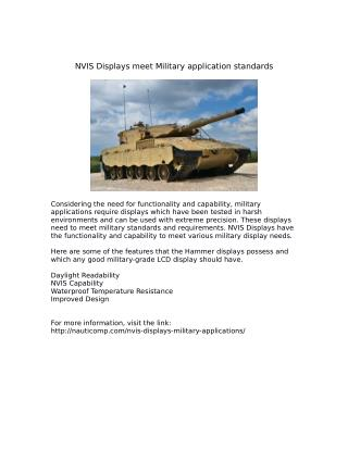 NVIS Displays meet Military application standards