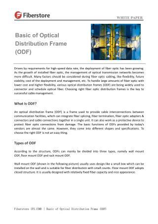 Basic of Optical Distribution Frame (ODF)