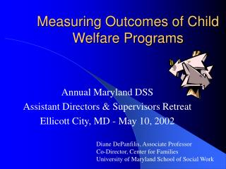 Measuring Outcomes of Child Welfare Programs