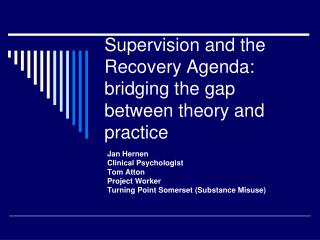 Supervision and the Recovery Agenda: bridging the gap between theory and practice