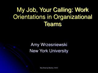My Job, Your Calling: Work Orientations in Organizational Teams