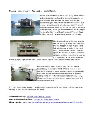 Floating rental property -You need to rent in Florida