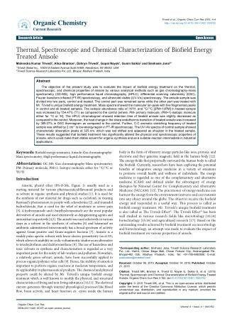 Thermal,Spectroscopic and Chemical Characterization of Biofield Energy Treated Anisole
