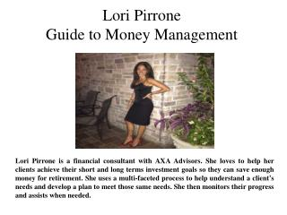 Lori Pirrone Guide to Money Management