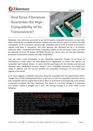 How Does Fiberstore Guarantee the High Compatibility of Its Transceivers