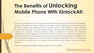 Benefits of Unlocking Mobile Phone with iUnlockAll
