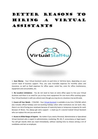 Better Reasons to Hiring a Virtual Assistants