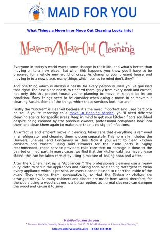 What Things a Move In or Move Out Cleaning Looks Into