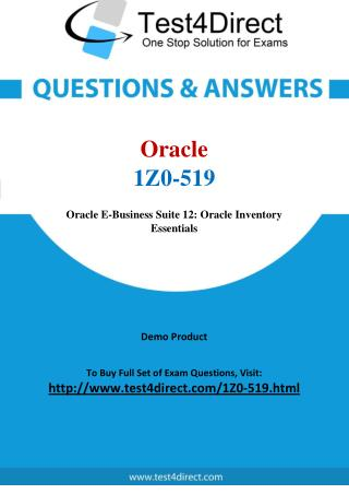 Oracle 1Z0-519 E Business Suite Exam Questions