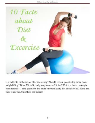 10 Facts about Diet and Exercise