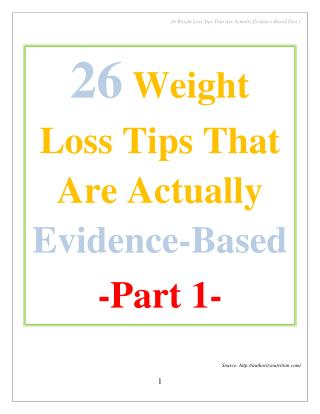 26 Weight Loss Tips That Are Actually Evidence-Based Part 1