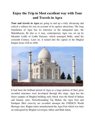 Enjoy the Trip in Most excellent way with Tour and Travels in Agra