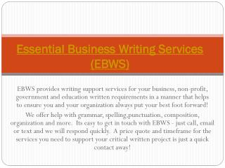 Essential Business Writing Services