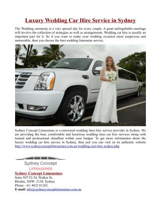 Luxury Wedding Car Hire Service in Sydney