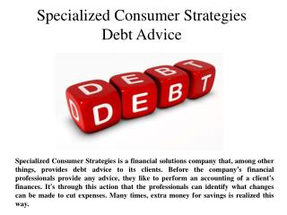 Specialized Consumer Strategies Debt Advice