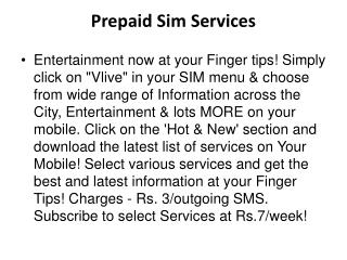 Videocon Prepaid Services - Value Added Services