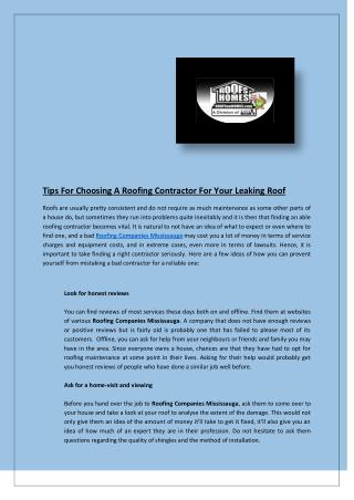 Tips For Choosing A Roofing Contractor For Your Leaking Roof