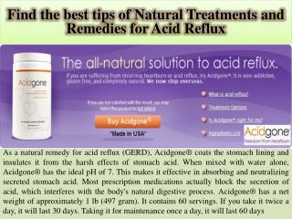 Find the best tips of Natural Treatments and Remedies for Acid Reflux