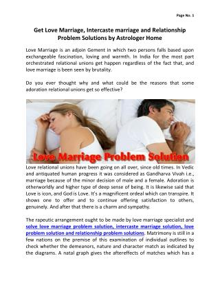Get Love Marriage, Intercaste marriage and Relationship Problem Solutions by Astrologer Home
