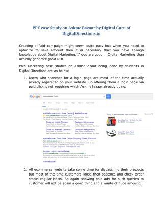 PPC case Study on AskmeBazaar by Digital Guru of DigitalDirections.in