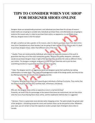 TIPS TO CONSIDER WHEN YOU SHOP FOR DESIGNER SHOES ONLINE