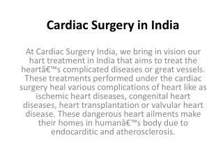Cardiac surgery in india