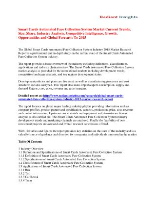 Smart Cards Automated Fare Collection System Market Future Growth, Opportunities and Forecast To 2015