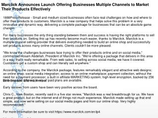 Marclick Announces Launch Offering Businesses Multiple Channels to Market Their Products Effectively
