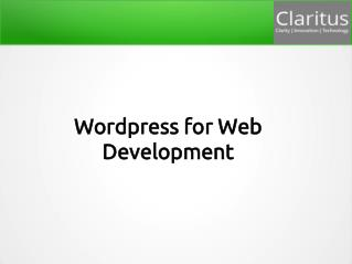 wordpress for web development