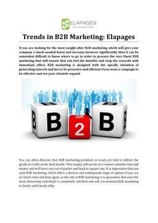 Trends in B2B Marketing: Elapages