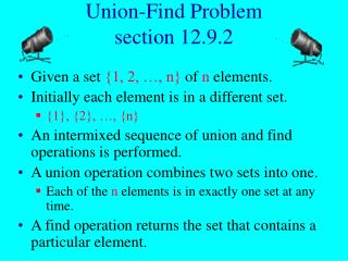 Union-Find Problem section 12.9.2