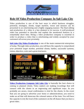 Role Of Video Production Company In Salt Lake City