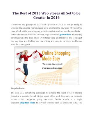 Be A Savings Superstar At Deals - All Set to be Greater in 2016 – goosedeals.com