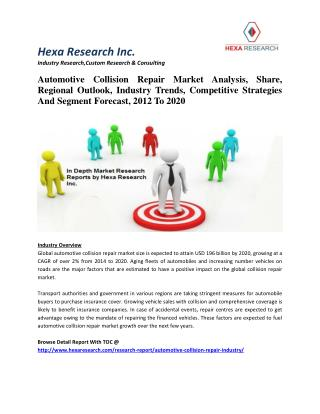 Automotive Collision Repair Market Analysis, Industry Trends, Strategies And Forecast,2012 To 2020