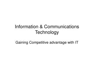Information  Communications Technology