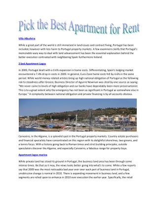 Real estate Property to rent in Portugal for long term