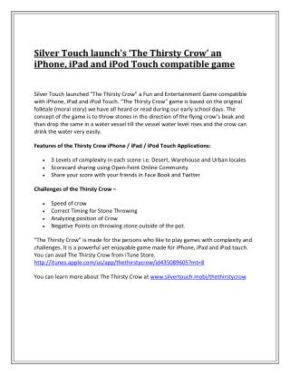 Silver Touch launch's 'The Thirsty Crow' an iPhone, iPad and iPod Touch compatible game