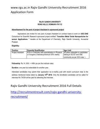 www.rgu.ac.in Rajiv Gandhi University Recruitment 2016 Application Form