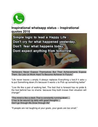Inspirational whatsapp status – Inspirational quotes 2016
