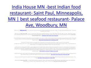 India House MN -best Indian food restaurant- Saint Paul, Minneapolis, MN | best seafood restaurant- Palace Ave, Woodbur
