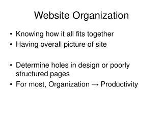 Website Organization