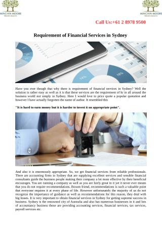 Requirement of Financial Services in Sydney
